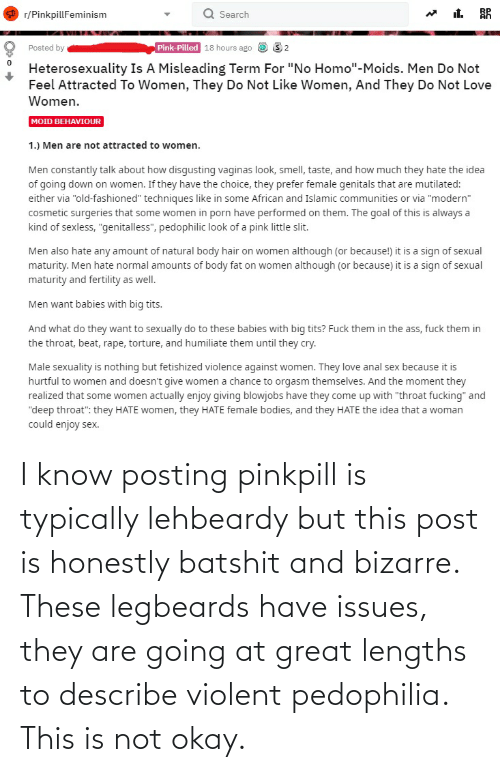 Girl Memes: I know posting pinkpill is typically lehbeardy but this post is honestly batshit and bizarre. These legbeards have issues, they are going at great lengths to describe violent pedophilia. This is not okay.