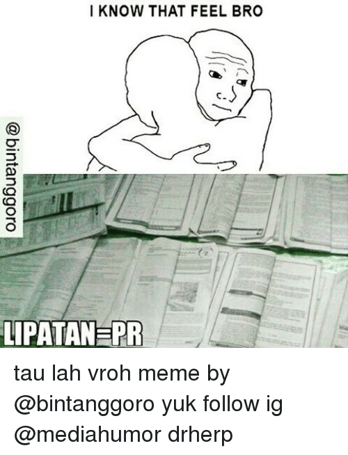Feels Bro: I KNOW THAT FEEL BRO  LIPATANERR tau lah vroh meme by @bintanggoro yuk follow ig @mediahumor drherp