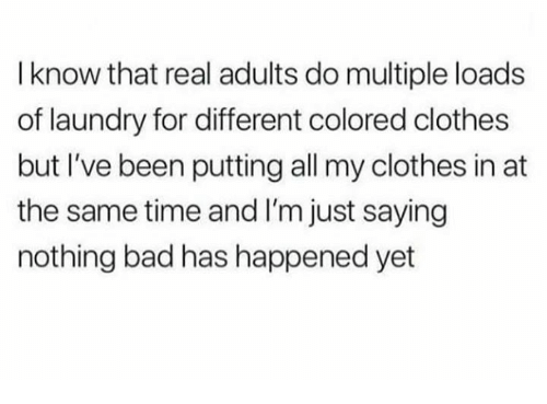 Im Just Saying: I know that real adults do multiple loads  of laundry for different colored clothes  but I've been putting all my clothes in at  the same time and I'm just saying  nothing bad has happened yet
