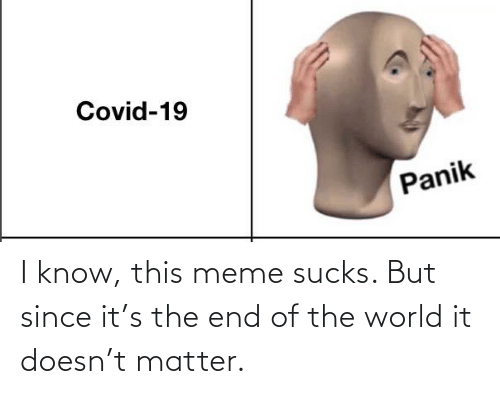 end of the world: I know, this meme sucks. But since it's the end of the world it doesn't matter.