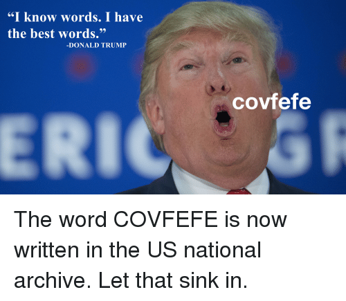"""Donald Trump, Politics, and Best: """"I know words. I have  the best words.""""  DONALD TRUMP  covfefe"""
