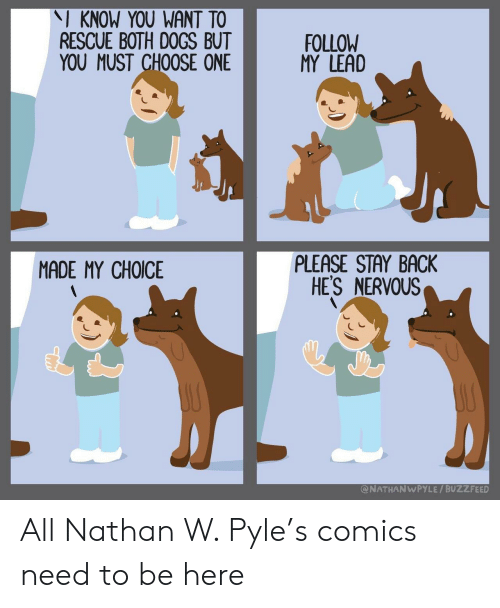 Choose one: I KNOW YOU WANT TO  RESCUE BOTH DOGS BUT  YOU MUST CHOOSE ONE  FOLLOW  MY LEAD  PLEASE STAY BACK  HES NERVOUS  MADE MY CHOICE  @NATHANWPYLE / BUZZFEED All Nathan W. Pyle's comics need to be here