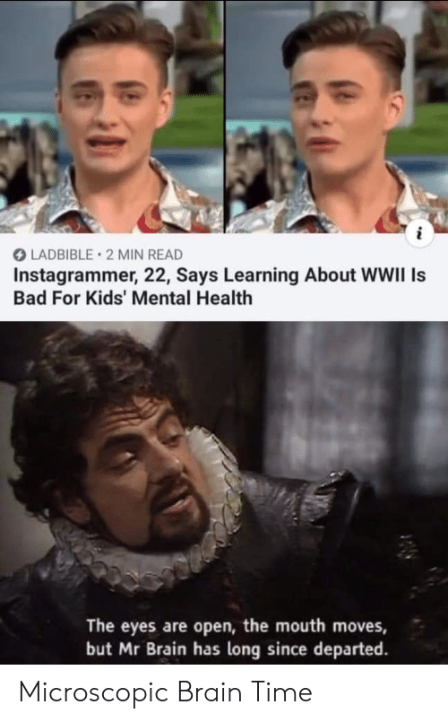 wwii: i  LADBIBLE 2 MIN READ  Instagrammer, 22, Says Learning About WWII Is  Bad For Kids' Mental Health  The eyes are open, the mouth moves,  but Mr Brain has long since departed Microscopic Brain Time