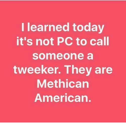 tweekers: I learned today  it's not PC to call  someone a  tweeker. They are  Methican  American.