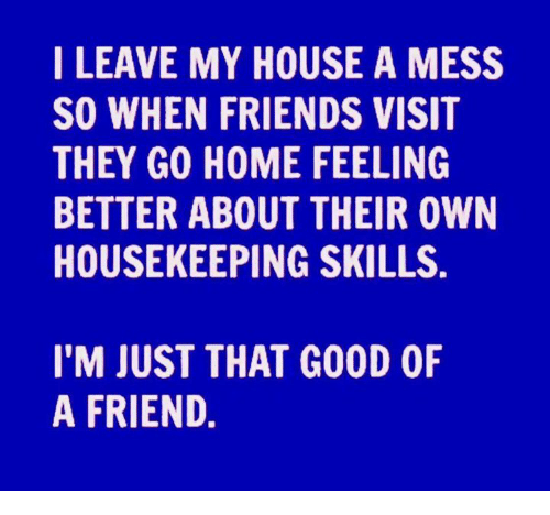 Housekeeping: I LEAVE MY HOUSE A MESS  SO WHEN FRIENDS VISIT  THEY GO HOME FEELING  BETTER ABOUT THEIR OWN  HOUSEKEEPING SKILLS.  I'M JUST THAT G00D 0F  A FRIEND.
