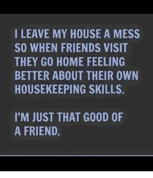Housekeeping: I LEAVE MY HOUSE A MESS  SO WHEN FRIENDS VISIT  THEY GO HOME FEELING  BETTER ABOUT THEIR OWN  HOUSEKEEPING SKILLS  I'M JUST THAT GOOD OF  A FRIEND.
