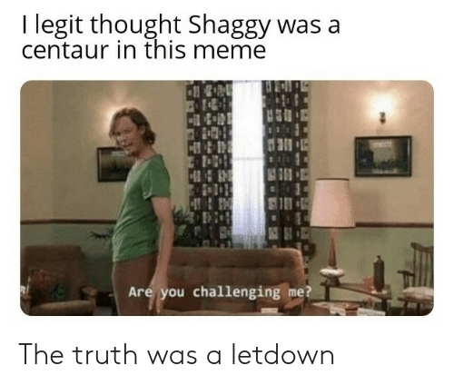 shaggy: I legit thought Shaggy was a  centaur in this meme  Are you challenging me? The truth was a letdown