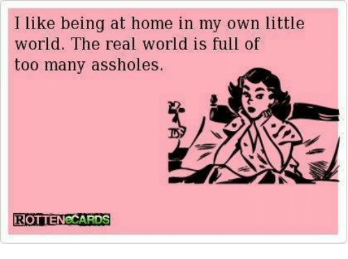 Assholl: I like being at home in my own little  world. The real world is full of  too many assholes  ROTTEN CARDS