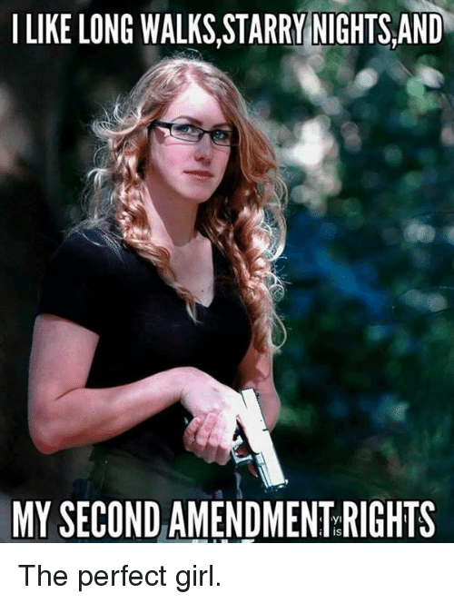 Memes, Perfect Girl, and Girl: I LIKE LONG WALKS.STARRY NIGHTS AND  MY SECOND AMENDMENT RIGHTS The perfect girl.