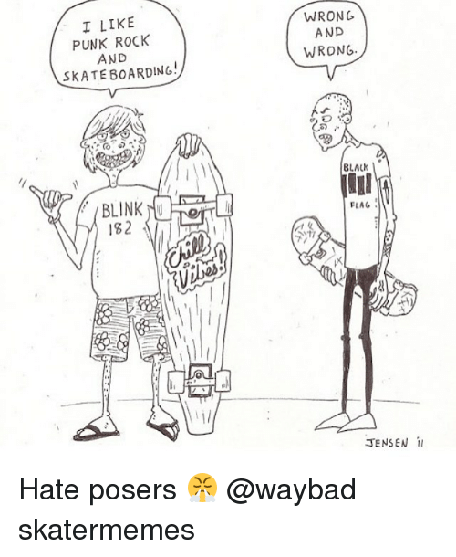 Black, Skate, and Rock: I LIKE  PUNK ROCK  AND  SKATE BOARDING  WRONG  AND  WRONG  BLACk  BLINK  132  FLAG  必 Hate posers 😤 @waybad skatermemes