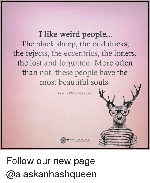 eccentricity: I like weird people.  The black sheep, the odd ducks,  the rejects, the eccentrics, the loners,  the lost and forgotten. More often  than not, these people have the  most beautiful souls.  Type 'YES' if you agree.  HIGHER  PERSPECTIVE Follow our new page @alaskanhashqueen