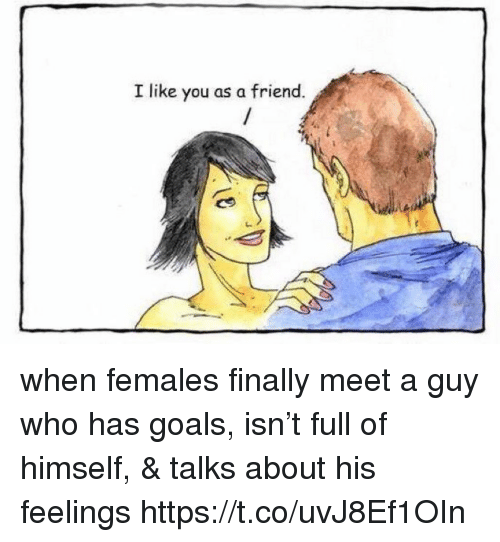Goals, Memes, and 🤖: I like you as a friend. when females finally meet a guy who has goals, isn't full of himself, & talks about his feelings https://t.co/uvJ8Ef1OIn