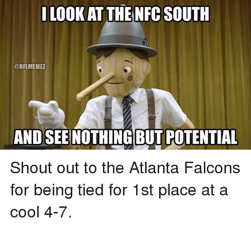 Atlanta Falcons, Nfl, and Cool: I LOOK AT THE NFC SOUTH  CONFLMEMEZ  AND SEE NOTHING BUT POTENTIAL Shout out to the Atlanta Falcons for being tied for 1st place at a cool 4-7.