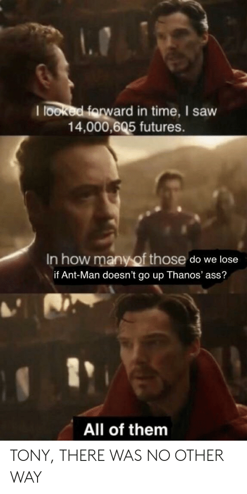 ant man: I looked farw  ard in time, I saw  14,000,605 futures.  In how many of those do we lose  if Ant-Man doesn't go up Thanos' ass?  1  All of them TONY, THERE WAS NO OTHER WAY