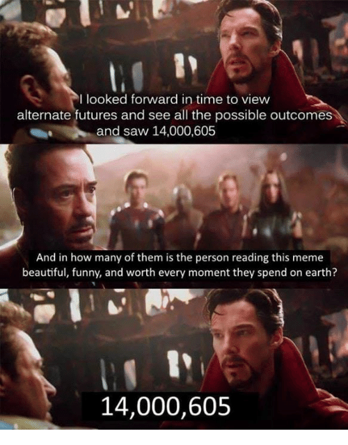 Beautiful, Funny, and Meme: I looked forward in time to view  alternate futures and see all the possible outcomes  and saw 14,000,605  And in how many of them is the person reading this meme  beautiful, funny, and worth every moment they spend on earth?  14,000,605