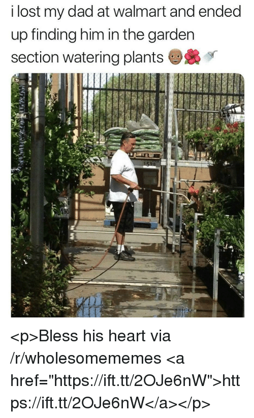 """Bless His Heart: i lost my dad at walmart and ended  up finding him in the garden  section watering plants <p>Bless his heart via /r/wholesomememes <a href=""""https://ift.tt/2OJe6nW"""">https://ift.tt/2OJe6nW</a></p>"""