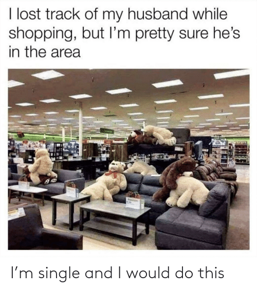 im-pretty-sure: I lost track of my husband while  shopping, but I'm pretty sure he's  in the area I'm single and I would do this