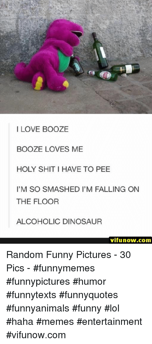 Dinosaur, Funny, and Lol: I LOVE BOOZE  BOOZE LOVES ME  HOLY SHIT I HAVE TO PEE  I'M SO SMASHED I'M FALLING ON  THE FLOOR  ALCOHOLIC DINOSAUR  vifunow.com Random Funny Pictures - 30 Pics - #funnymemes #funnypictures #humor #funnytexts #funnyquotes #funnyanimals #funny #lol #haha #memes #entertainment #vifunow.com