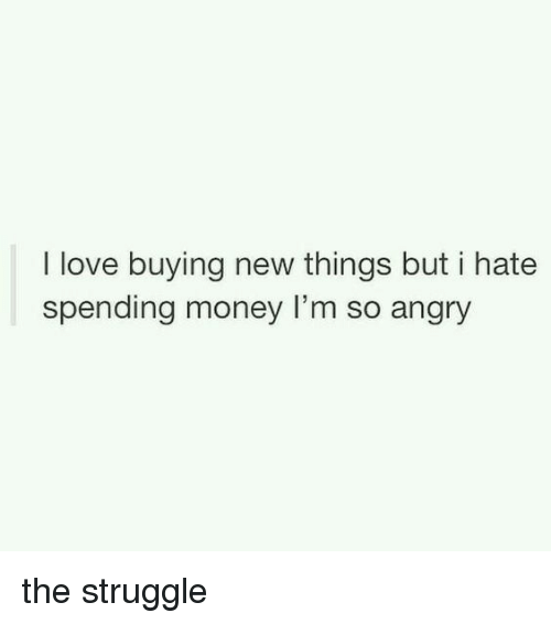 Love, Memes, and Money: I love buying new things but i hate  spending money l'm so angry the struggle