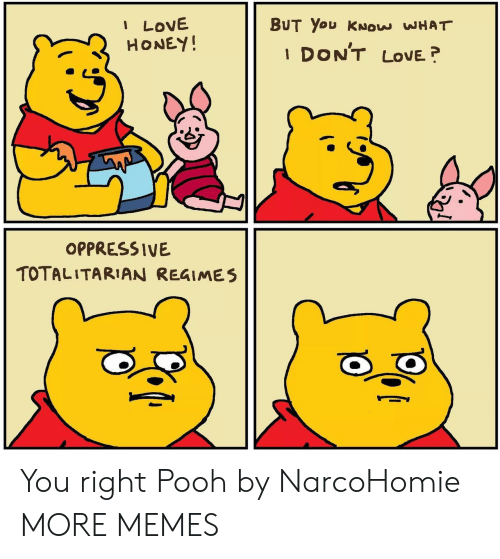 oppressive: I LOVE  HONEY!  BUT You KNOW WHAT  DON'T  LOVE  1  OPPRESSIVE  TOTALITARIAN REGIMES You right Pooh by NarcoHomie MORE MEMES