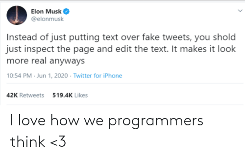 I Love: I love how we programmers think <3
