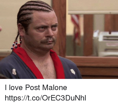 Love, Post Malone, and Girl Memes: I love Post Malone https://t.co/OrEC3DuNhl