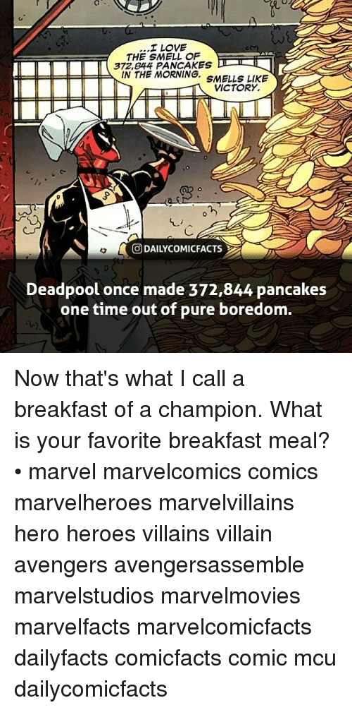 Love, Memes, and Smell: I LOVE  THE SMELL OF  372,e44 PANCAKES  IN THE MORNING. SMELLS LIKE  VICTORY.  回DAILYCOMICFACTS  Deadpool once made 372,844 pancakes  one time out of pure boredom. Now that's what I call a breakfast of a champion. What is your favorite breakfast meal? • marvel marvelcomics comics marvelheroes marvelvillains hero heroes villains villain avengers avengersassemble marvelstudios marvelmovies marvelfacts marvelcomicfacts dailyfacts comicfacts comic mcu dailycomicfacts