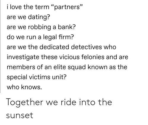 """investigate: i love the term """"partners""""  are we dating?  are we robbing a bank?  do we run a legal firm?  are we the dedicated detectives who  investigate these vicious felonies and are  members of an elite squad known as the  special victims unit?  who knows. Together we ride into the sunset"""