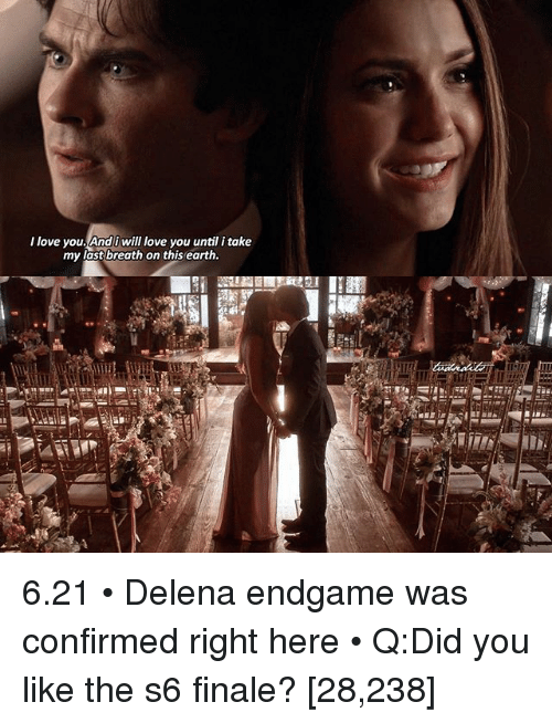 Love, Memes, and I Love You: I love you Andi will love you until i take  my last breath on this earth. 6.21 • Delena endgame was confirmed right here • Q:Did you like the s6 finale? [28,238]