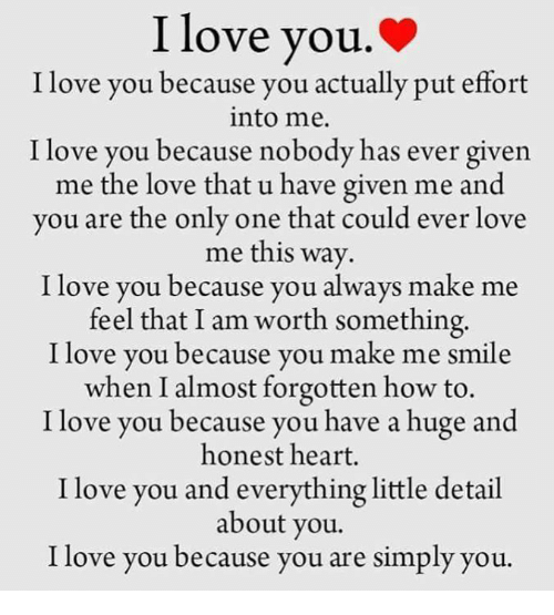 I Love You Because: I Love You I Love You Because You Actually Put Effort Into