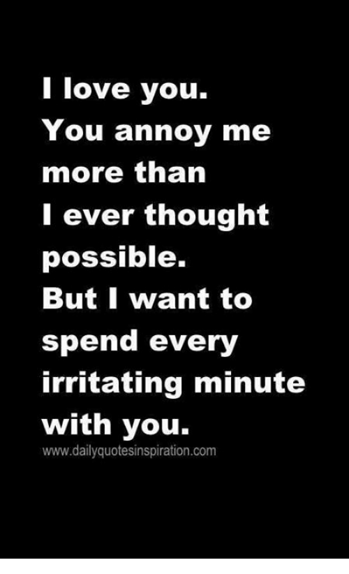 I Love You, Man: I love you.  You annoy me  more than  I ever thought  possible.  But I want to  spend every  irritating minute  with you.  www.dailyquotesinspiration.com
