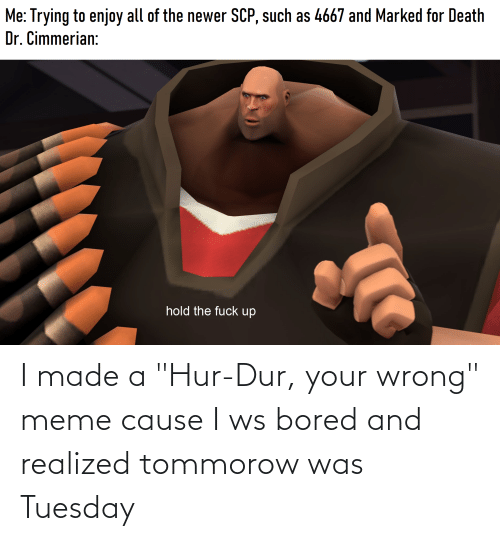 "Wrong Meme: I made a ""Hur-Dur, your wrong"" meme cause I ws bored and realized tommorow was Tuesday"