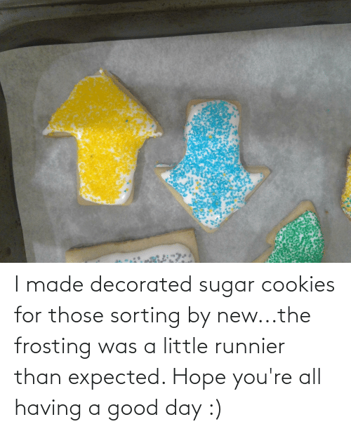 frosting: I made decorated sugar cookies for those sorting by new...the frosting was a little runnier than expected. Hope you're all having a good day :)