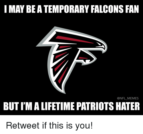 Falcons Fan: I MAY BE A TEMPORARY FALCONS FAN  NFL MEMES  BUTIMALIFETIME PATRIOTS HATER Retweet if this is you!