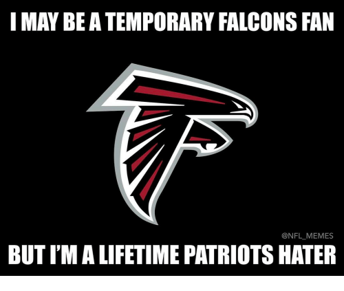 Falcons Fans: I MAY BEATEMPORARY FALCONS FAN  NFL MEMES  BUTIMALIFETIME PATRIOTS HATER