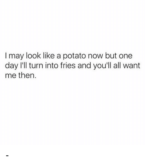 Memes, Potato, and 🤖: I may look like a potato now but one  day I'll turn into fries and you'll all want  me then. -