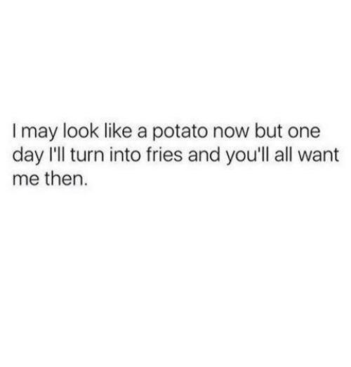 Memes, Potato, and 🤖: I may look like a potato now but one  day I'll turn into fries and you'll all want  me then.