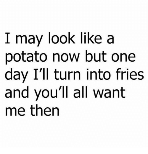 Memes, Potato, and 🤖: I may look like a  potato now but one  day I'll turn into fries  and you'll all want  me then
