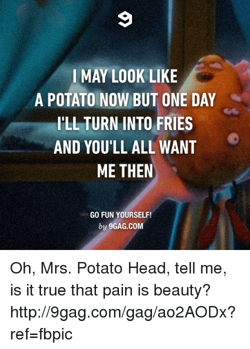Potato Head: I MAY LOOK LIKE  A POTATO NOW BUT ONE DAY  ILL TURN INTO FRIES  AND YOULL ALL WANT  ME THEN  GO FUN YOURSELF!  by 9GAG.COM Oh, Mrs. Potato Head, tell me, is it true that pain is beauty? http://9gag.com/gag/ao2AODx?ref=fbpic
