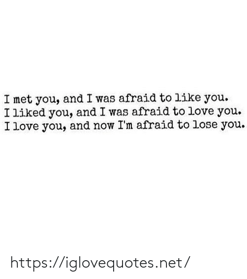 im afraid: I met you, and I was afraid to like you.  I liked you, and I was afraid to love you.  I love you, and now I'm afraid to lose you. https://iglovequotes.net/