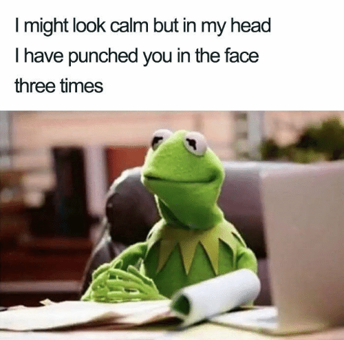 punched: I might look calm but in my head  T have punched you in the face  three times