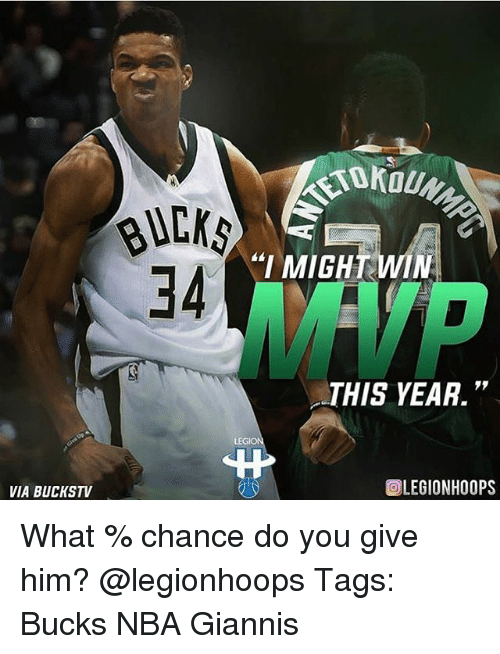 "Memes, Nba, and 🤖: ""I MIGHT WIN  34  MVP  THIS YEAR.""  LEGI  VIA BUCKSTV  回LEGIONHOOPS What % chance do you give him? @legionhoops Tags: Bucks NBA Giannis"