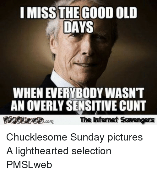Lighthearted: I MISS THE GOOD OLD  DAYS  WHEN EVERYBODY WASNT  AN OVERLY SENSITIVE CUNT  靉aesseeD.com  The intenet Scavengars <p>Chucklesome Sunday pictures  A lighthearted selection  PMSLweb </p>
