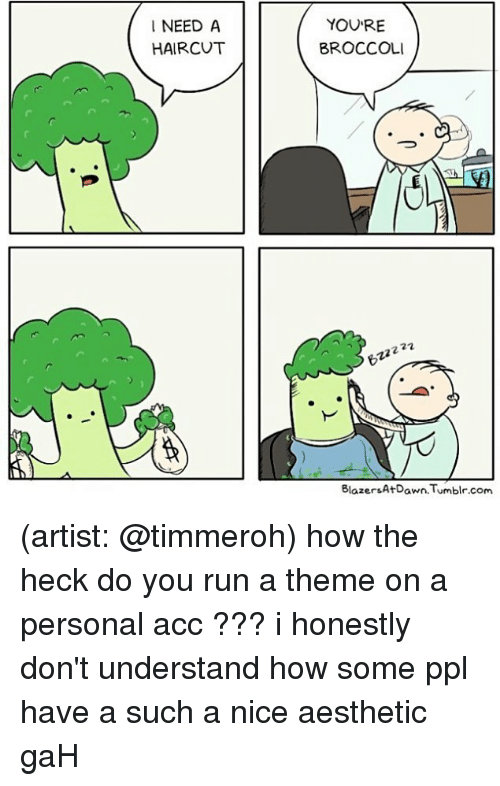 Haircut, Memes, and Run: I NEED A  HAIRCUT  YOU'RE  BROCCOLI  2  BlaersAtDwn.Tumblr.com (artist: @timmeroh) how the heck do you run a theme on a personal acc ??? i honestly don't understand how some ppl have a such a nice aesthetic gaH