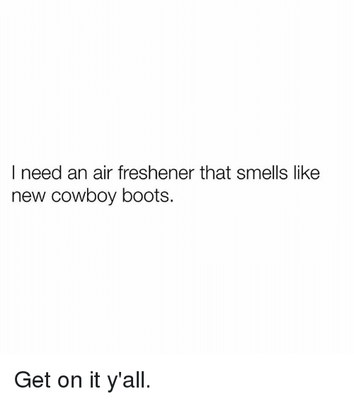 Texas: I need an air freshener that smells like  new cowboy boots. Get on it y'all.