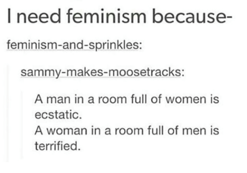 sprinkles: I need feminism because-  feminism-and-sprinkles:  sammy-makes-moosetrackS:  A man in a room full of women is  ecstatic  A woman in a room full of men is  terrified.