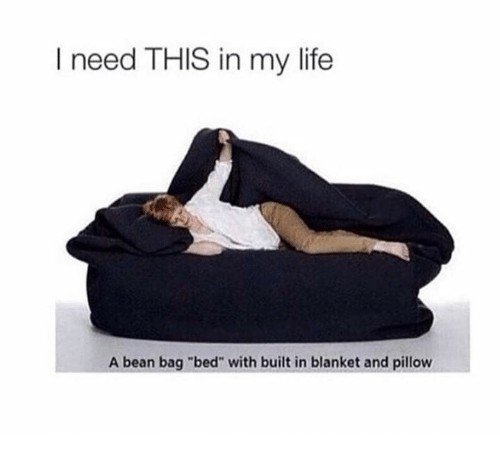 "Bean Bagged: I need THIS in my life  A bean bag ""bed"" with built in blanket and pillow"