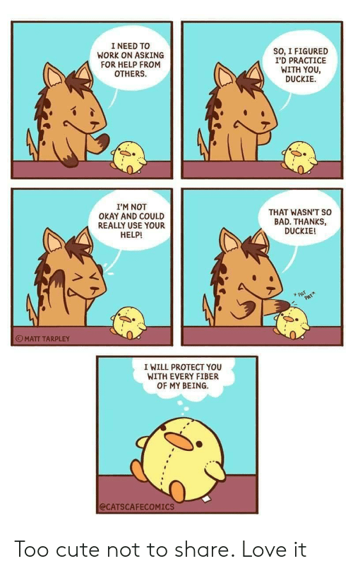 Not Okay: I NEED TO  WORK ON ASKING  FOR HELP FROM  OTHERS  SO, I FIGURED  I'D PRACTICE  WITH YOU  DUCKIE  I'M NOT  OKAY AND COULD  REALLY USE YOUR  HELP!  THAT WASN'T so  BAD. THANKS,  DUCKIE!  PAT  PAT  MATT TARPLEY  I WILL PROTECT YOU  WITH EVERY FIBER  OF MY BEING  @CATSCAFECOMICS Too cute not to share. Love it