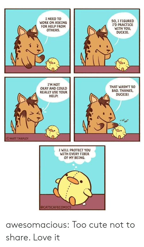 Not Okay: I NEED TO  WORK ON ASKING  FOR HELP FROM  OTHERS  SO, I FIGURED  I'D PRACTICE  WITH YOU  DUCKIE  I'M NOT  OKAY AND COULD  REALLY USE YOUR  HELP!  THAT WASN'T so  BAD. THANKS,  DUCKIE!  PAT  PAT  MATT TARPLEY  I WILL PROTECT YOU  WITH EVERY FIBER  OF MY BEING  @CATSCAFECOMICS awesomacious:  Too cute not to share. Love it