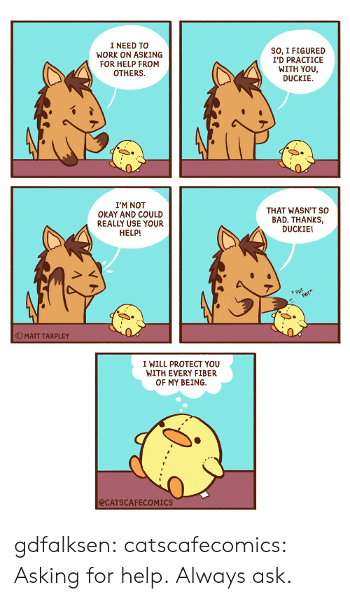 Not Okay: I NEED TO  WORK ON ASKING  FOR HELP FROM  OTHERS  SO, I FIGURED  I'D PRACTICE  WITH YOU,  DUCKIE  I'M NOT  OKAY AND COULD  REALLY USE YOUR  THAT WASN'T SO  BAD. THANKS,  DUCKIE!  HELP!  PAT  PATX  OMATT TARPLEY  I WILL PROTECT YOU  WITH EVERY FIBER  OF MY BEING  @CATSCAFECOMICS gdfalksen: catscafecomics: Asking for help. Always ask.